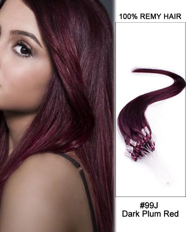 16 99j Dark Plum Red Straight Micro Loop 100 Remy Hair Human Hair