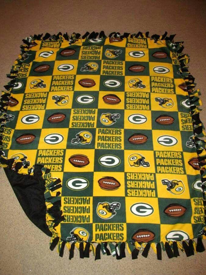 NFL Green Bay Packers w/ Black back Fleece Tie Blanket