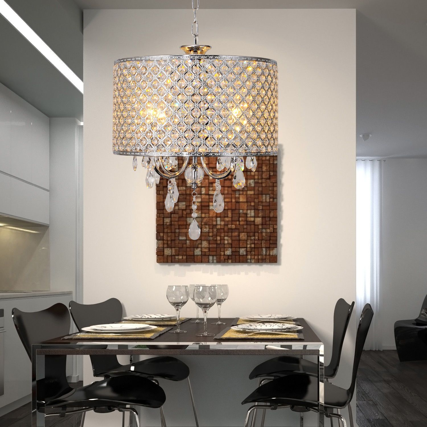 Modern 4 lights Crystal Chandelier Pendant Fixture Drum Lamp Shade