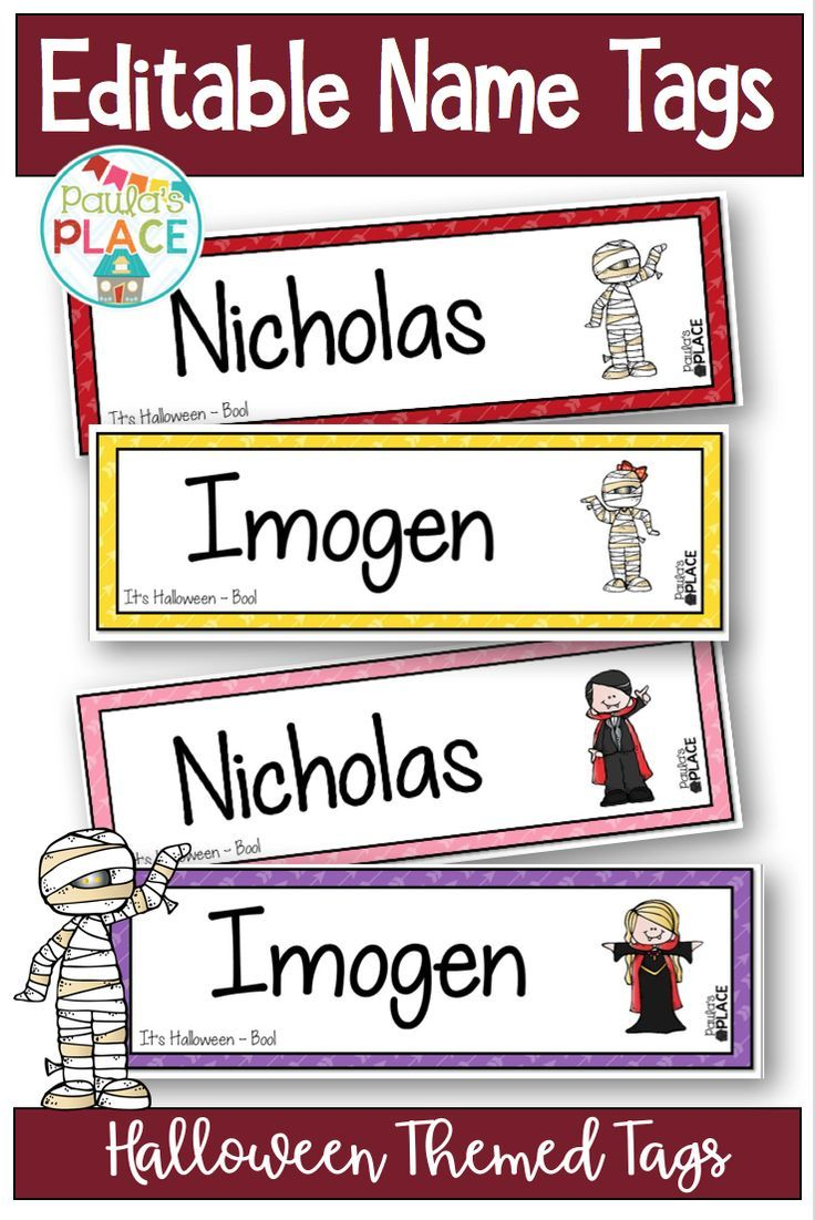 halloween name tags editable | ***tpt great products for all grades