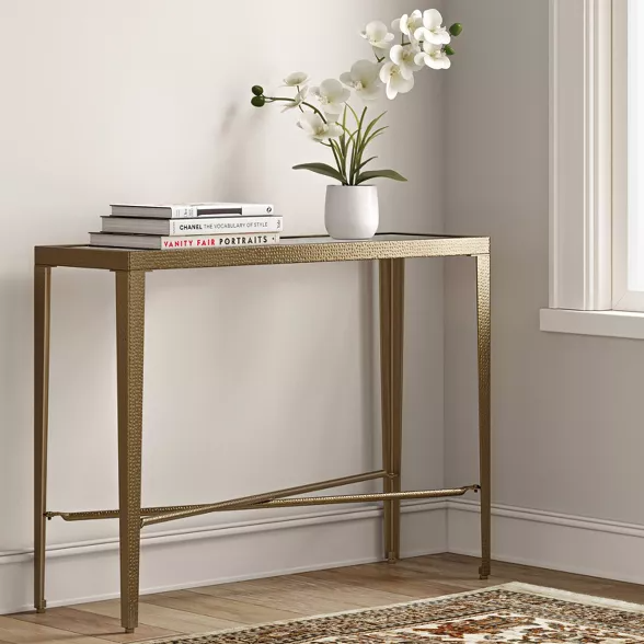 Alexandria Forged Brass Console Table With Glass Top Gold Threshold In 2020 Brass Console Table Console Table Console Table Decorating