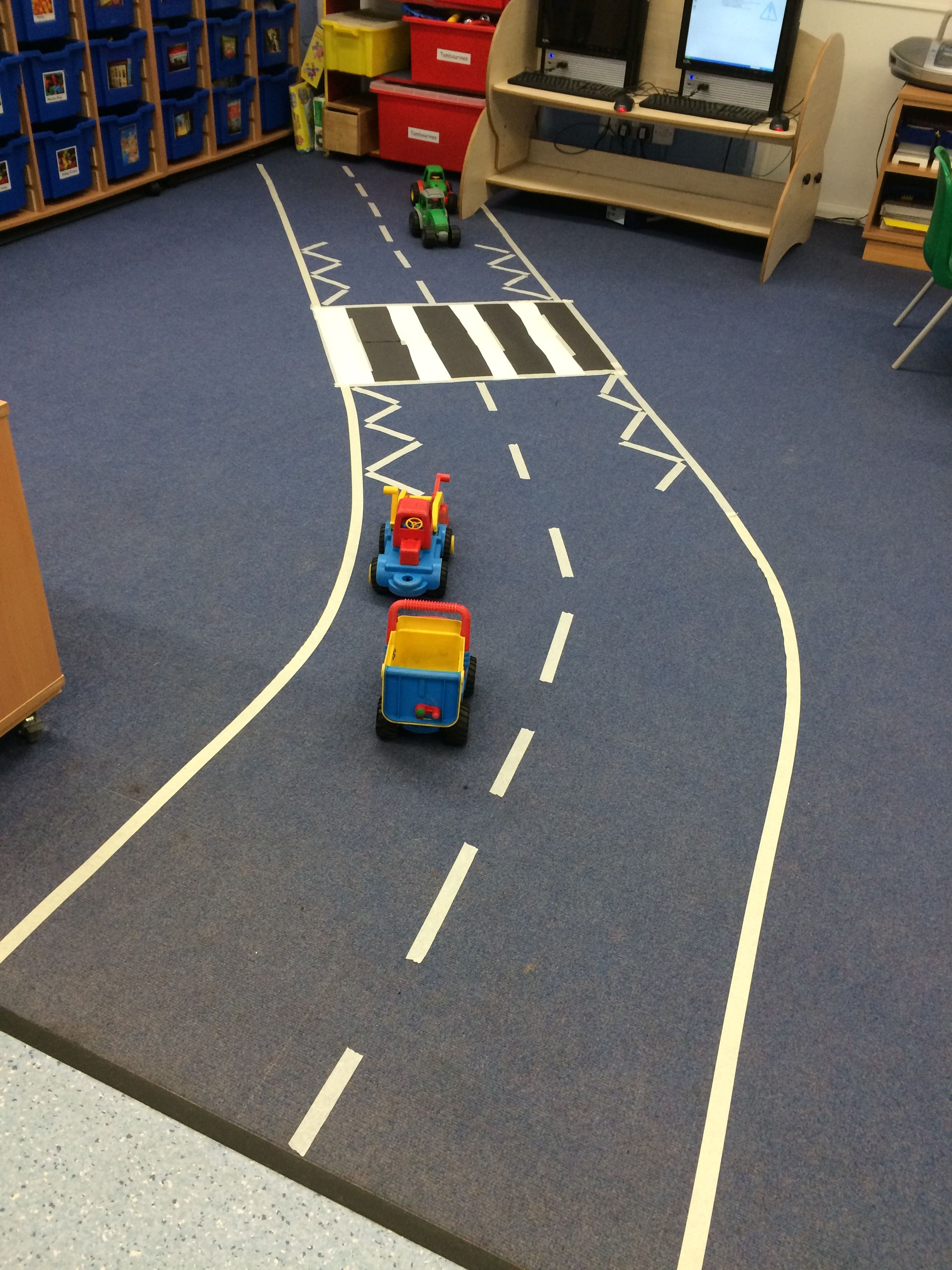 Indoor road with masking tape Transportation activities