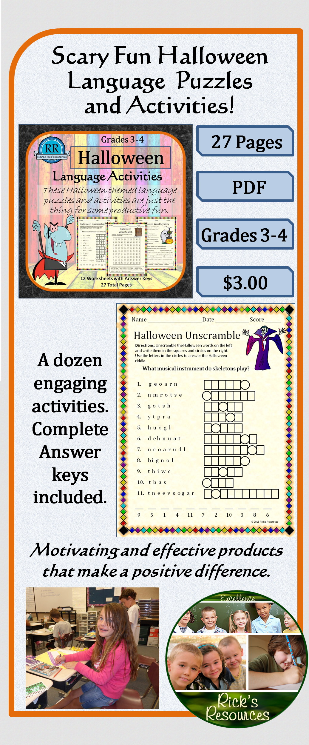 Halloween Language Activities With Images