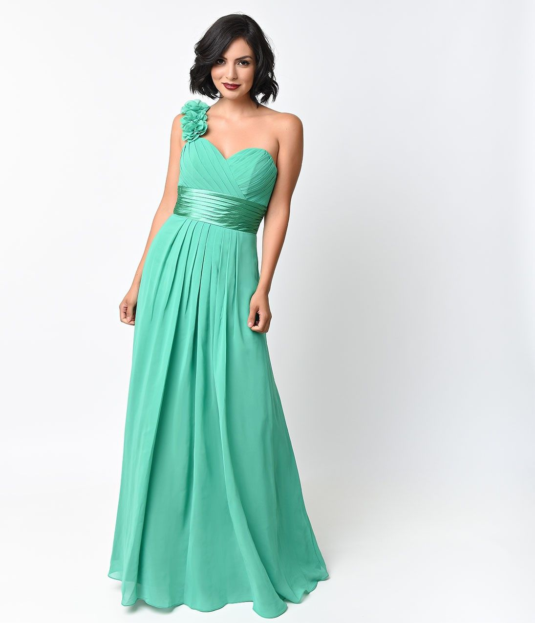 Kelly green chiffon floral cold shoulder long gown for prom