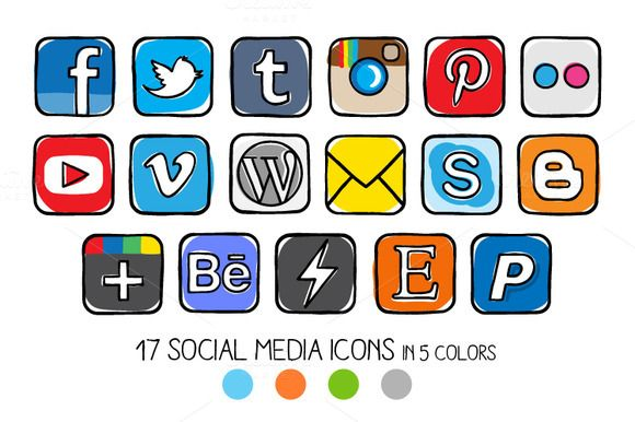 VECTOR - Guache social media icons by Side Project on Creative Market