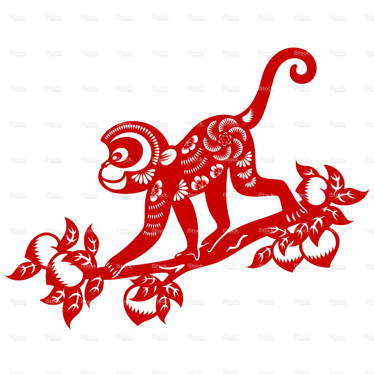 Traditional papercut art of Year of the Monkey for Chinese