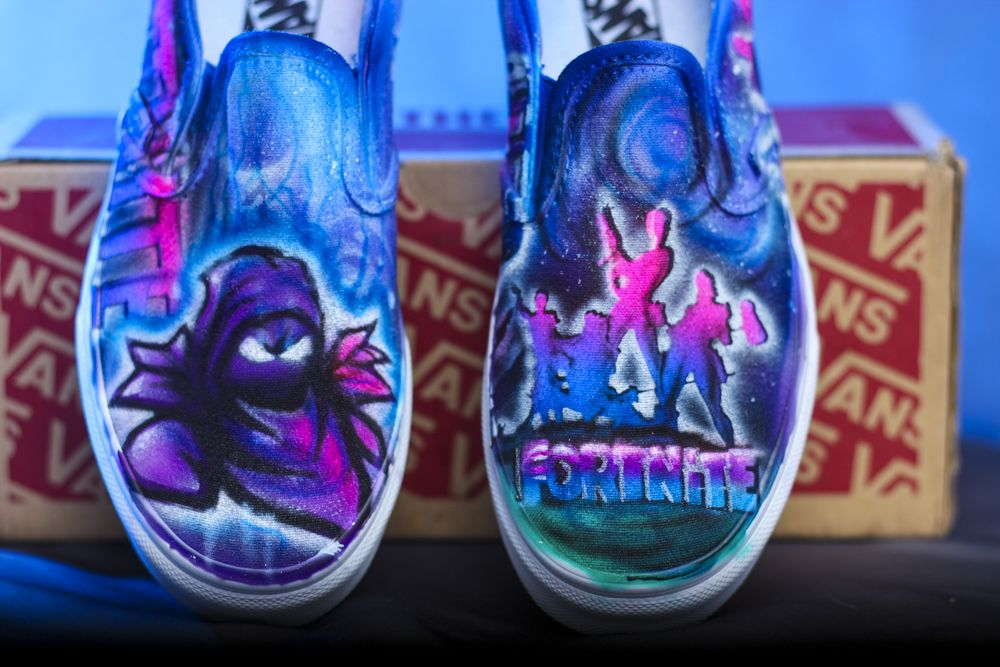 5ecb9dec4a18ca LIMITED EDITION Custom painted airbrushed fortnite gamer shoes. Hand  designed ps4