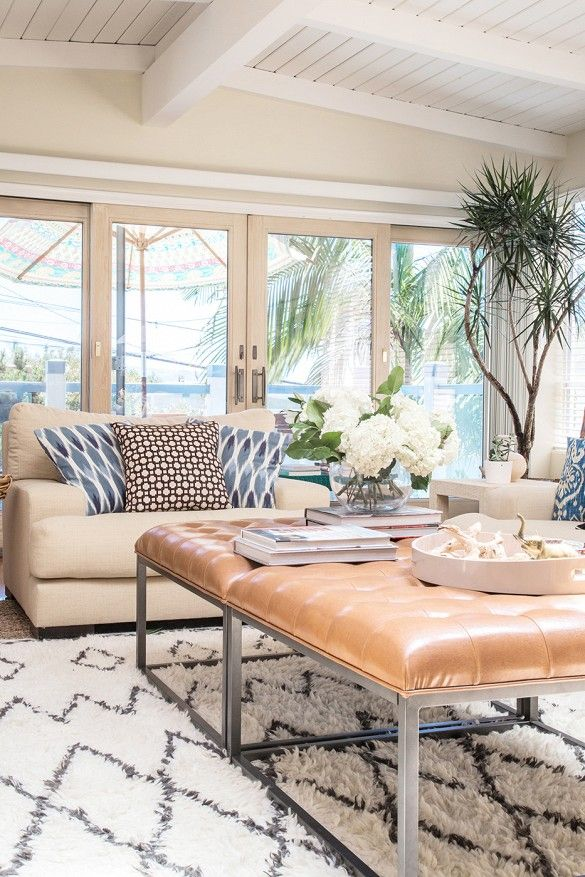 Genial Before And After: A Familyu0027s Busy Living Room Becomes A Warm Retreat |  Pinterest | Tufted Leather Ottoman, Leather Ottoman And Ottomans
