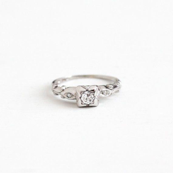 Sale Vintage 14k White Gold 1 10 Carat Diamond Ring Art Antique Rings Vintage 10 Carat Diamond Ring Vintage Engagement Wedding Rings