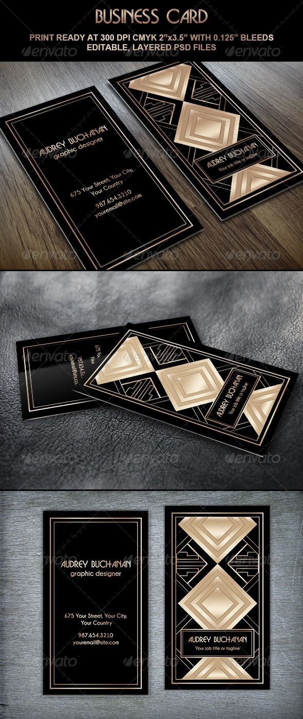 Business Card Art Deco Style II | Luxury business cards, Roaring ...