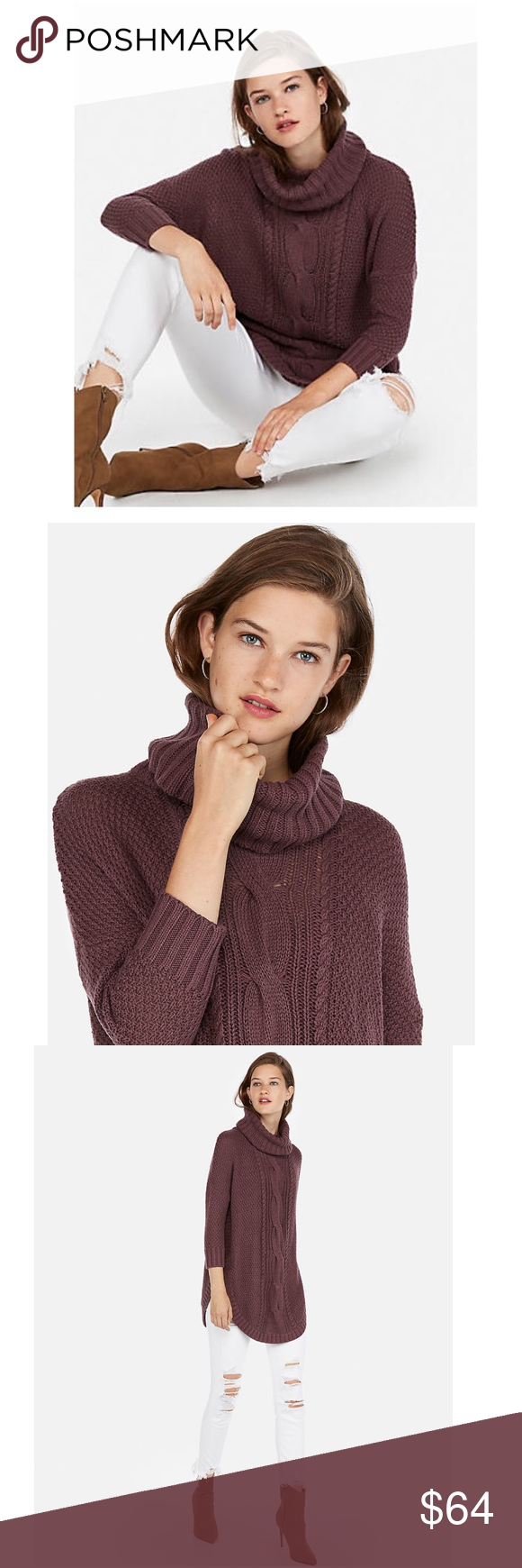 Cowl Neck Cable Knit Pullover Circle Hem Sweater Nwt Knitted Pullover Clothes Design Hem Sweater