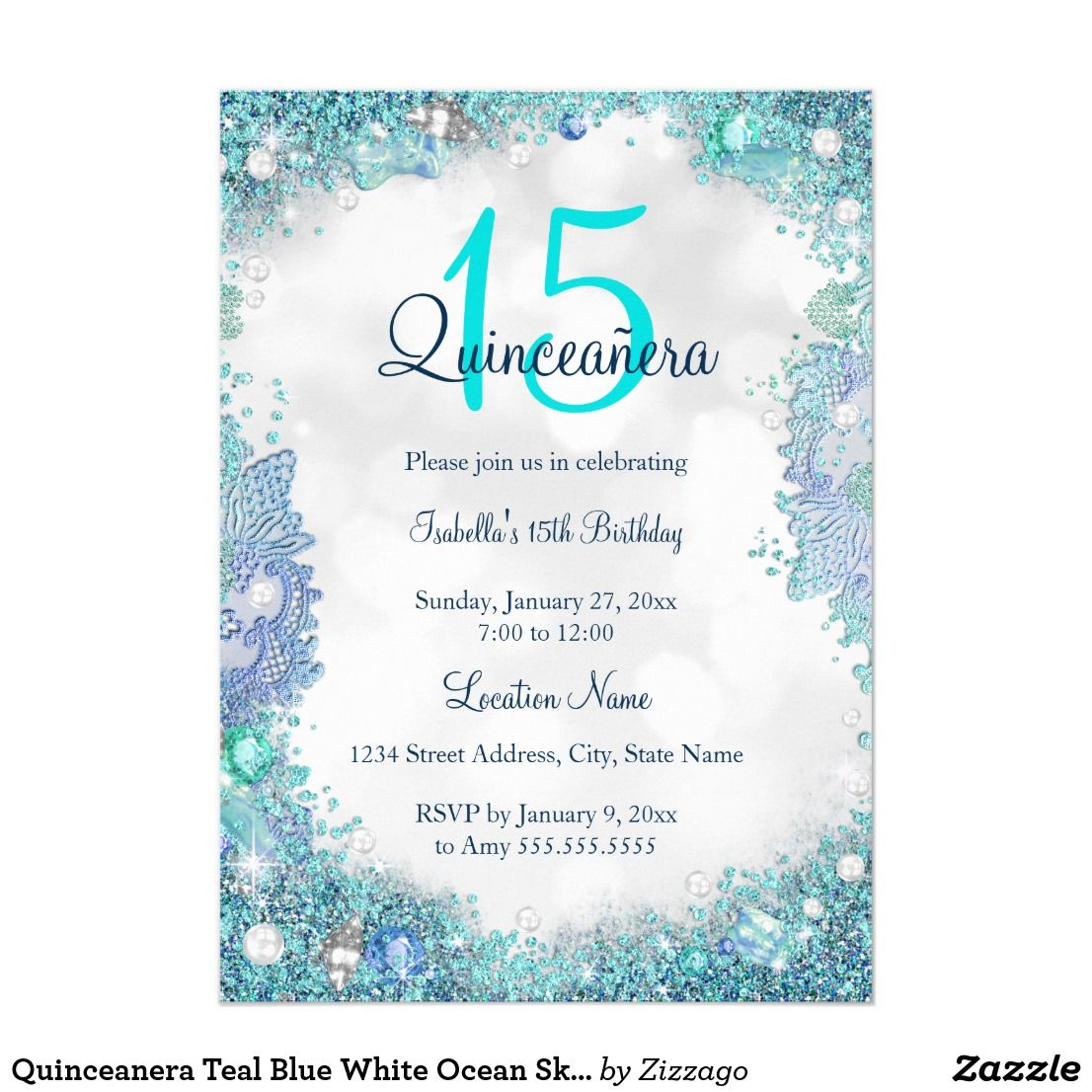 Quinceanera Teal Blue White Ocean Sky Birthday Invitation | { Happy ...