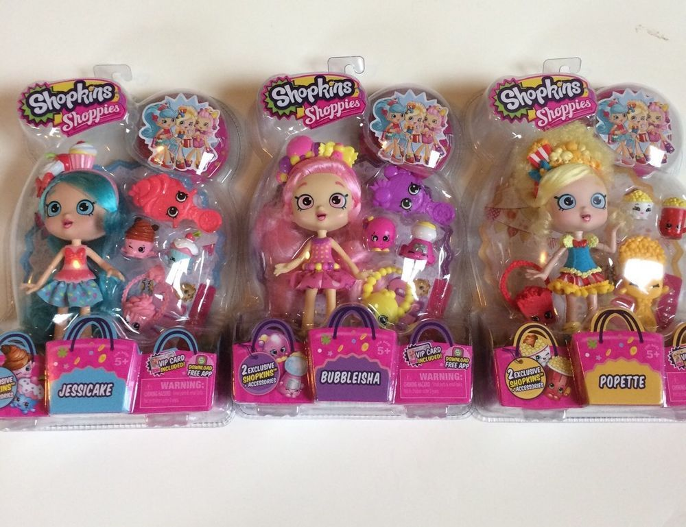 Buy Here In Time For Christmas New Shopkins Season 1 Shoppies Set Of 3 Dolls Jessicake Popette Bubbleisha Shopkins Shopkins Season 1 Shoppies Dolls