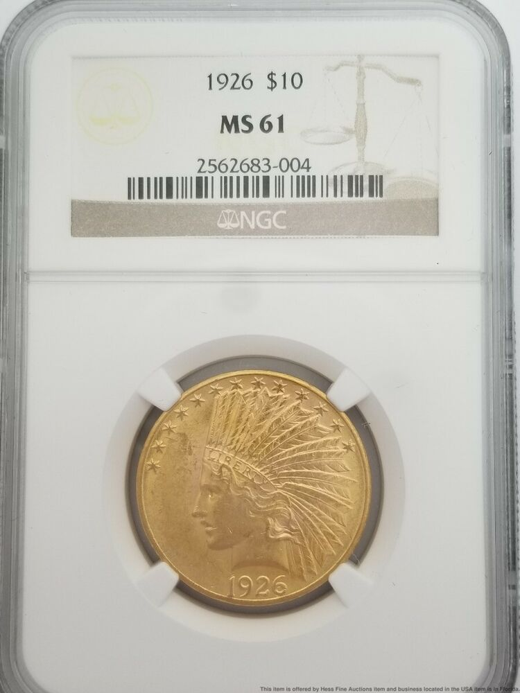 1926 Ngc Ms 61 10 Ten Dollar Indian Head Eagle Gold Coin In 2020 Gold Coins 10 Things Bullion