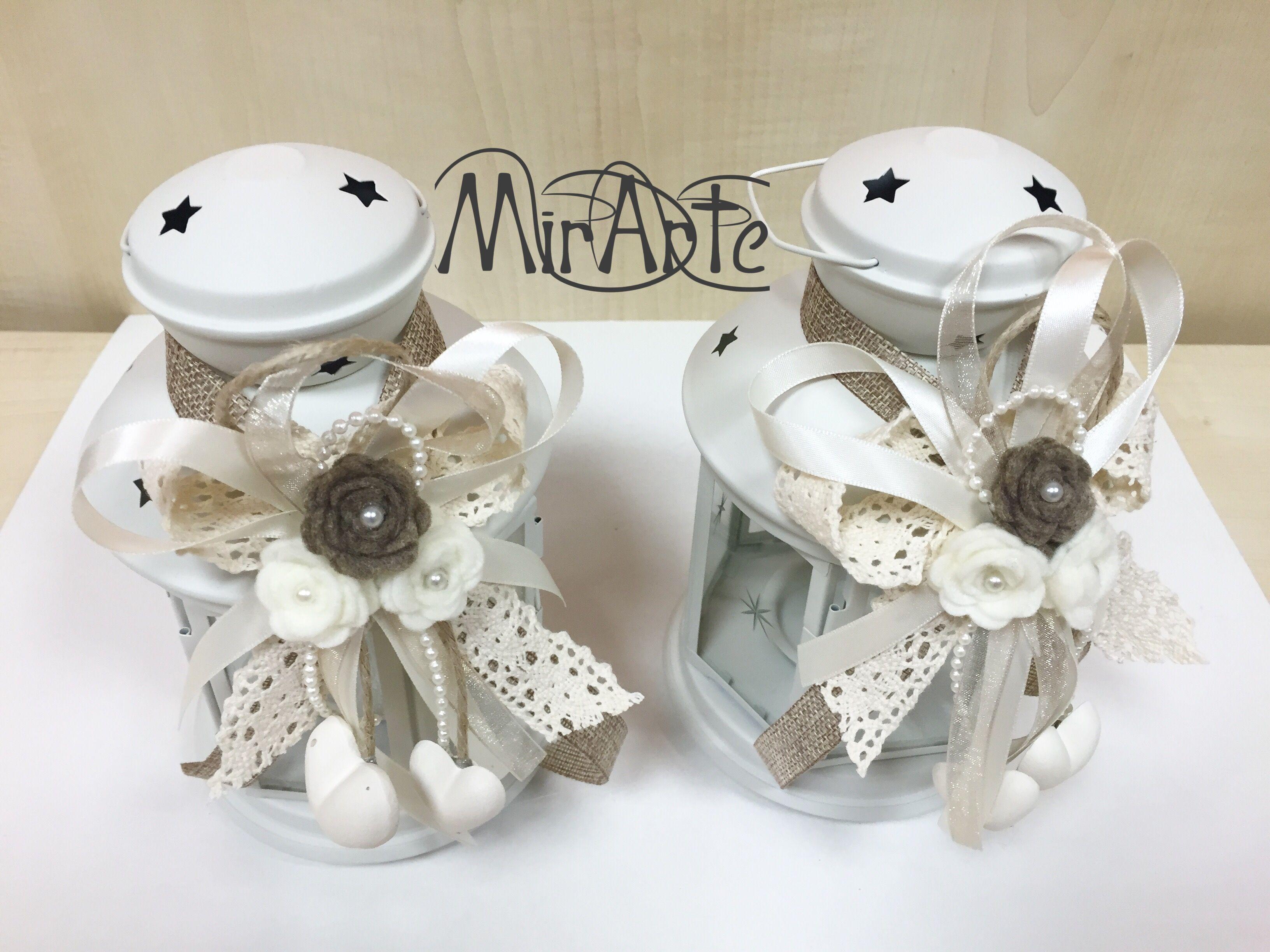Lanterne ikea adornate in stile shabby chic fiori feltro e cuori