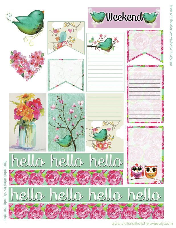 free printable hello green bird planner stickers from
