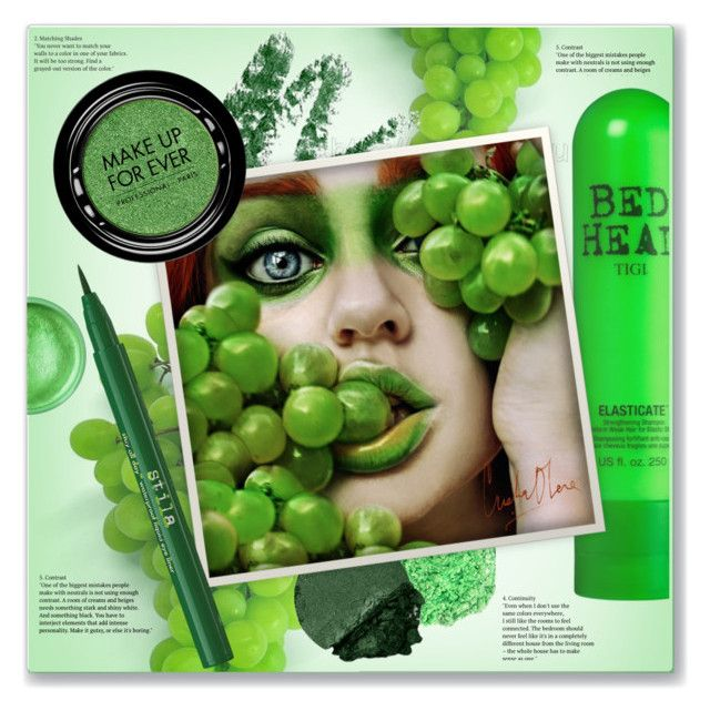 """""""Green Grapes Beauty"""" by kellylynne68 ❤ liked on Polyvore featuring beauty, Bed Head by TIGI, Sugarpill, MAKE UP FOR EVER and Stila"""