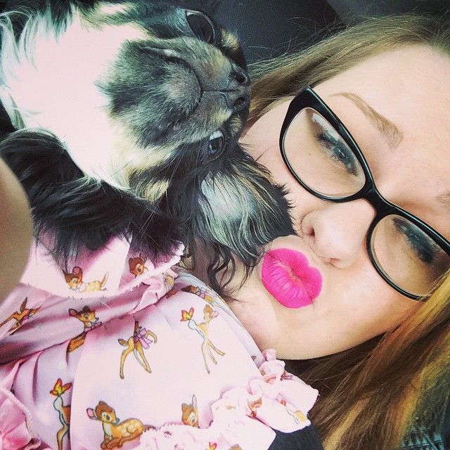 Too Faced wants to know how you #OwnYourPretty  I own mine with a fuchsia lip and my adorable sidekick Lucille.