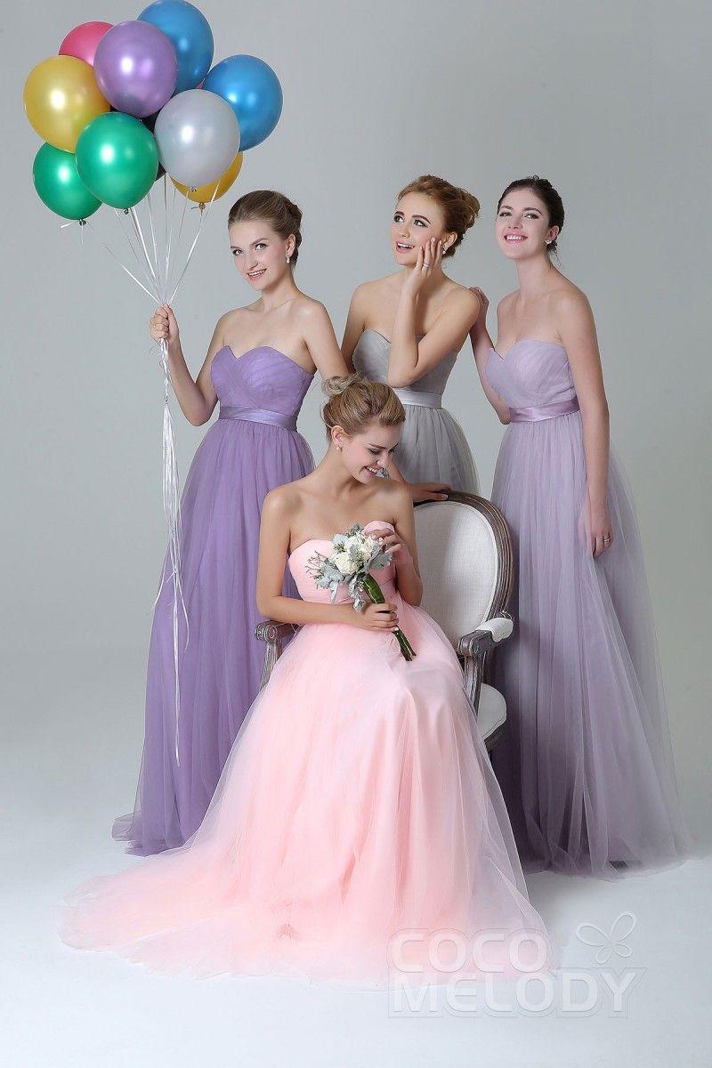 bd26d31b20e6 Cocomelody: Sheath-Column Floor Length Tulle Bridesmaid Dress Sashes  COZF1500B