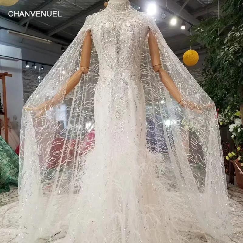 LSS473 mermaid wedding dress with sleeve shawl high neck cap sleeves  trumpet bride dresses wedding gown brush train new fashion ecefc3e140c4