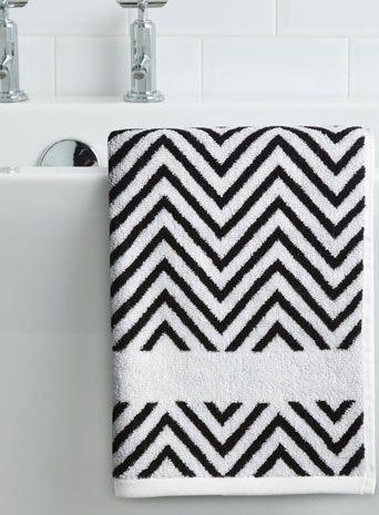 Monochrome Zig Zag Patterned Hand Towel Essentials Home - Bhs monochrome word bath sheet bhs monochrome word hand towel