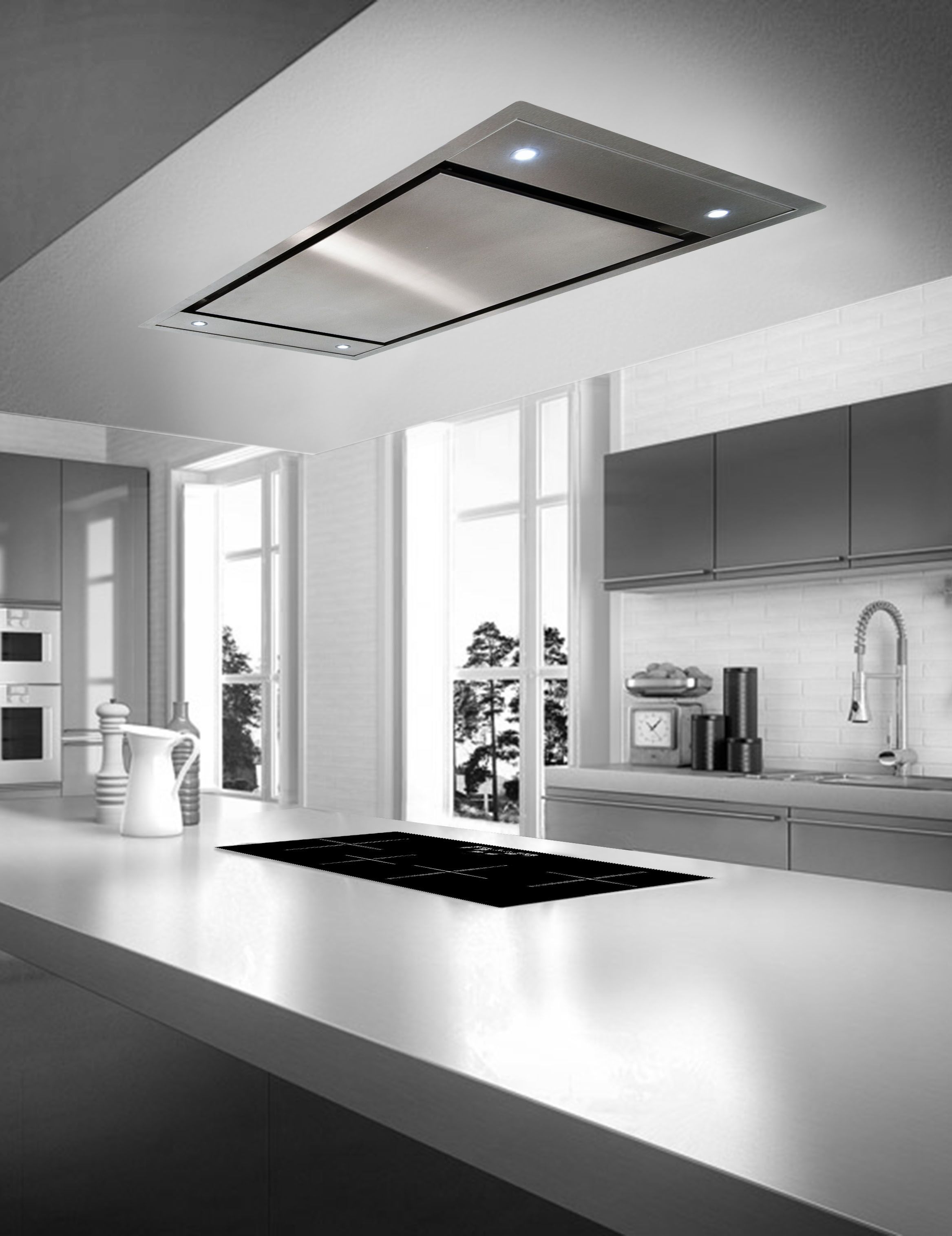 zefiro ce120 flush mount island ceiling hoods kitchen rh pinterest com Kitchen Ceiling Exhaust Fans Kitchen Island Ceiling Ventilation