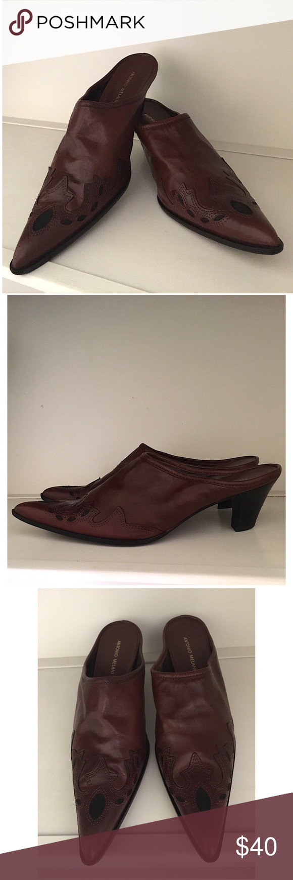 52e81a50d38 ANTONIO MELANI WESTERN MULES Gorgeous Antonio Melani Western Style Mules.  Only showing wear to the