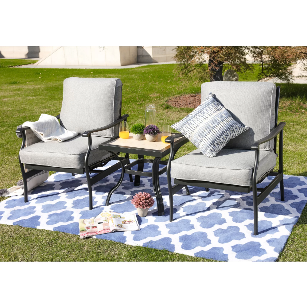 Straley 3 Piece Seating Group With Cushions Seating Groups Outdoor Furniture Sets Patio Dining Set