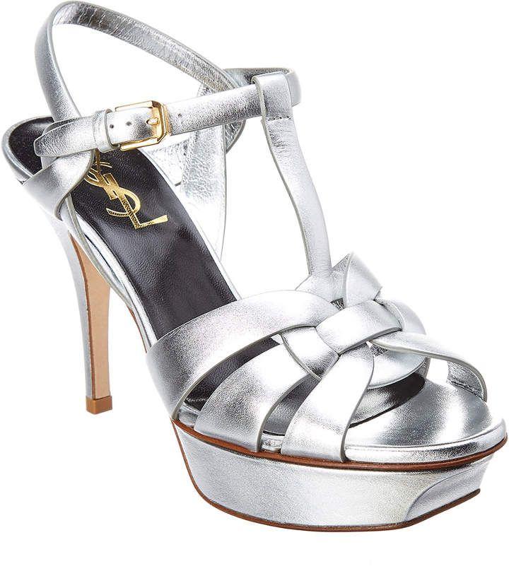 bbc8bcf1dfc Saint Laurent Classic Tribute 75 Metallic Leather Platform Sandal ...