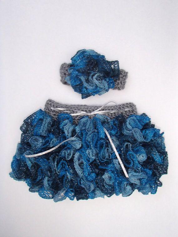 Baby Girl Blue and Silver Ruffle Skirt/Sashay Yarn and Matching ...