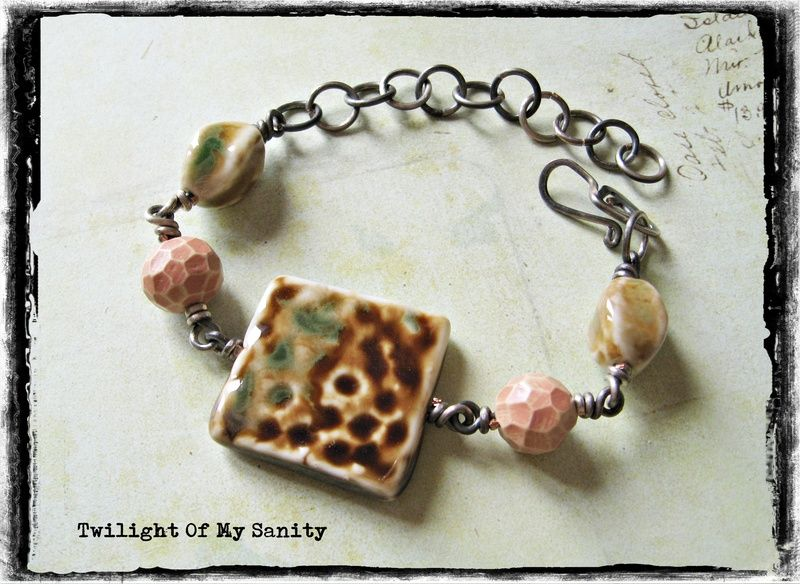 Brown and green ceramic bracelet from Twilight of My Sanity jewelry by DaWanda.com
