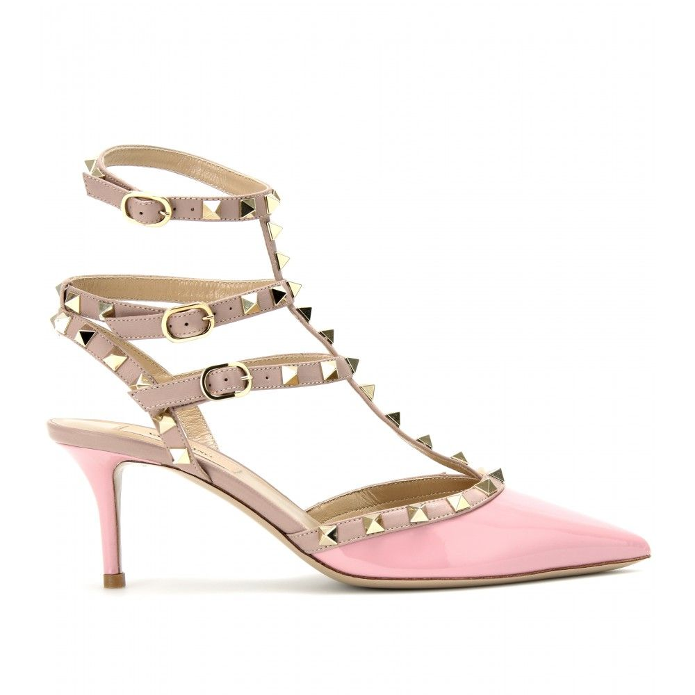 58d09ad7efe Valentino Rockstud Kitten Heel Patent Leather Pumps in Pink