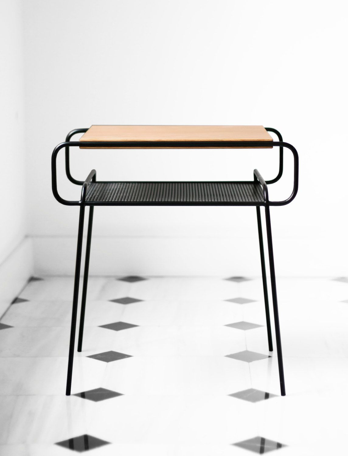 Black Metal Bedside Tables: 2 Units Nightstand / Bedside Table, Black Lacquered Iron