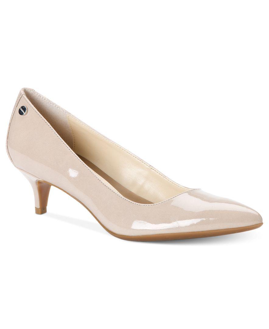 Calvin Klein Women S Nicki Wide Width Pumps Pumps Shoes Macy S Pump Shoes Kitten Heel Shoes Low Heel Shoes