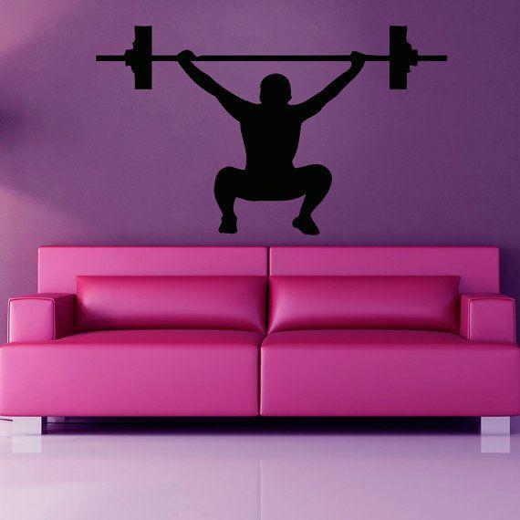 ig012 Wall Stickers Vinyl DecaI Gym Sports Bodybuilding Fitness Barbell Decor
