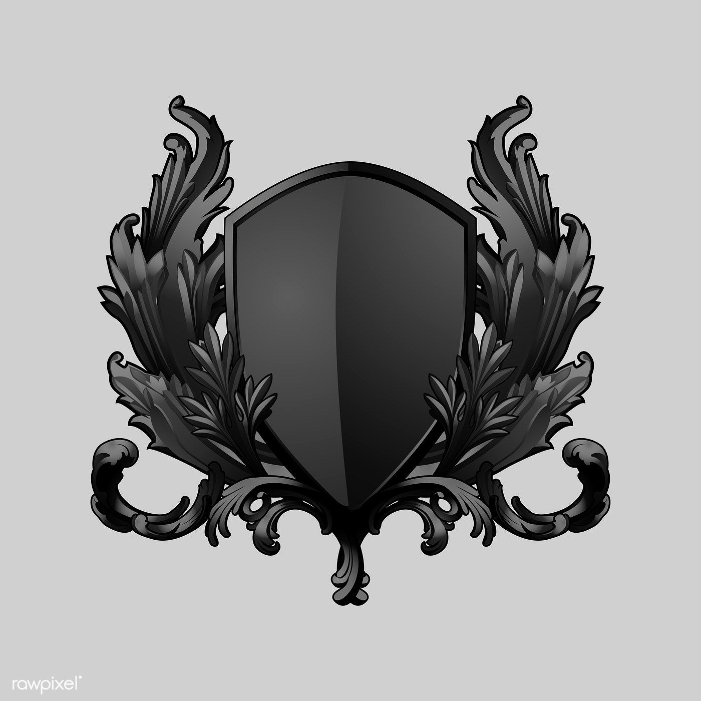 Black Baroque shield elements vector free image by