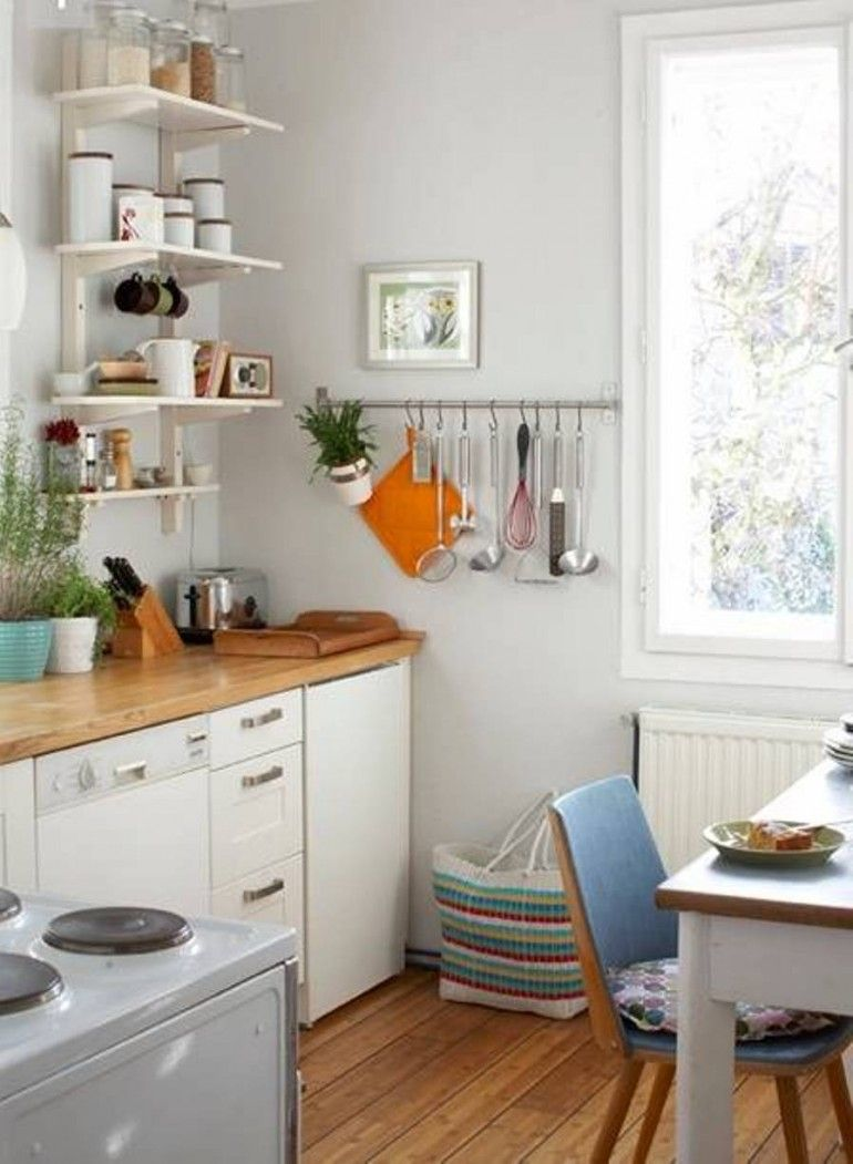 Pretty Kitchen Design For Small Area With Storage Shelves ...