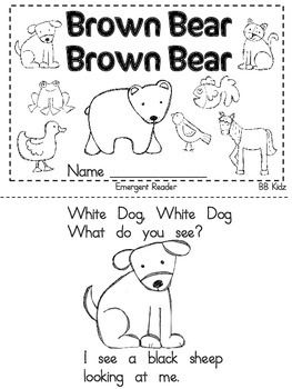 Brown Bear Brown Bear Emergent Reader and Activities