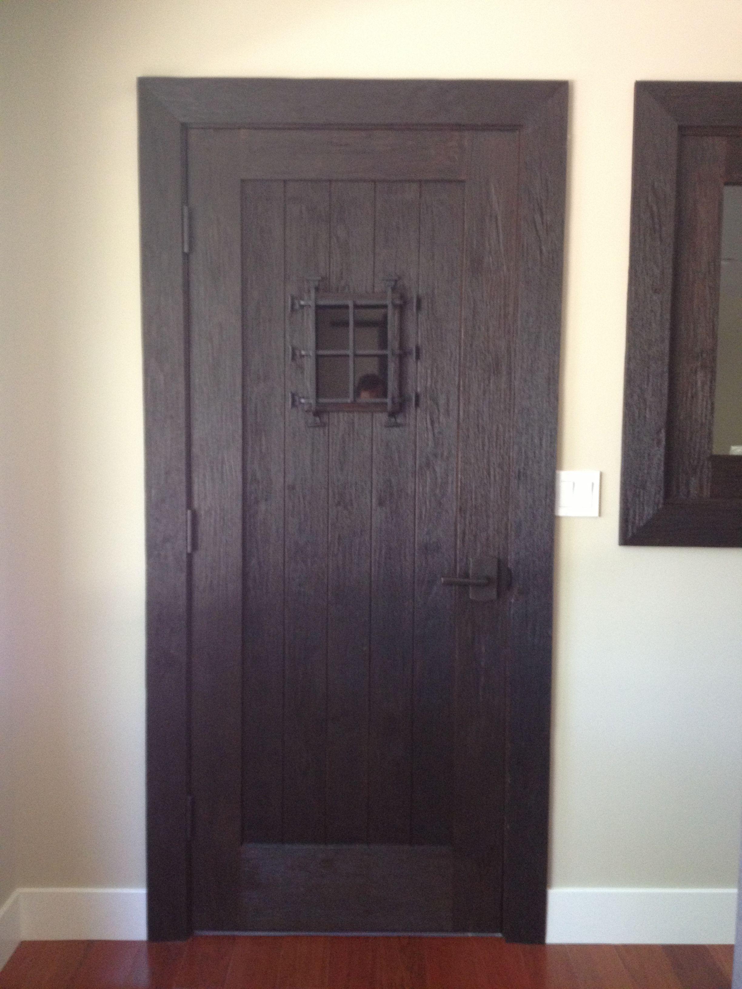 Antique distress custom cellar door by antigua doors wine cellar