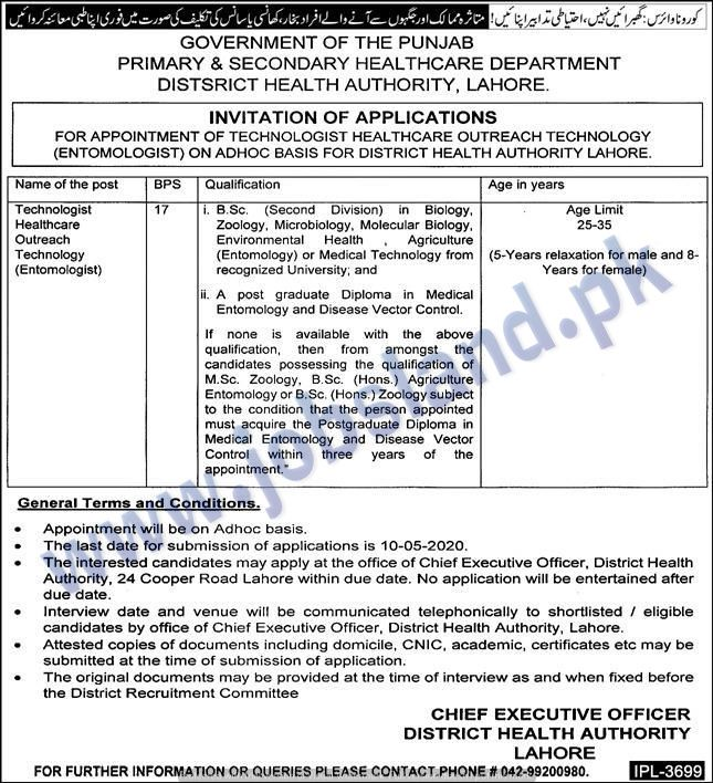 Jobs in Lahore in Primary & Secondary Health Department in