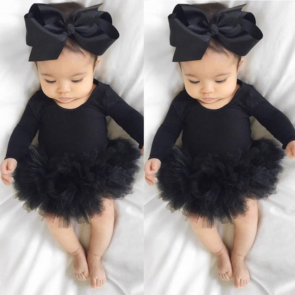Infant Newborn Baby Girls Printed Romper Tulle Dress Lovely Headband Outfits Set