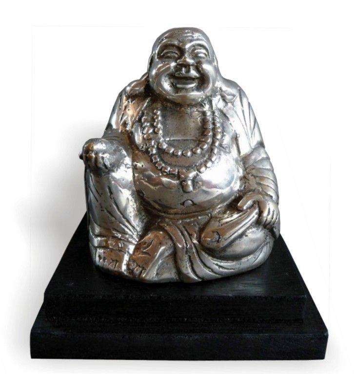Bouddha happy Bronze finition argenté Vendu avec socle bois teinté noir