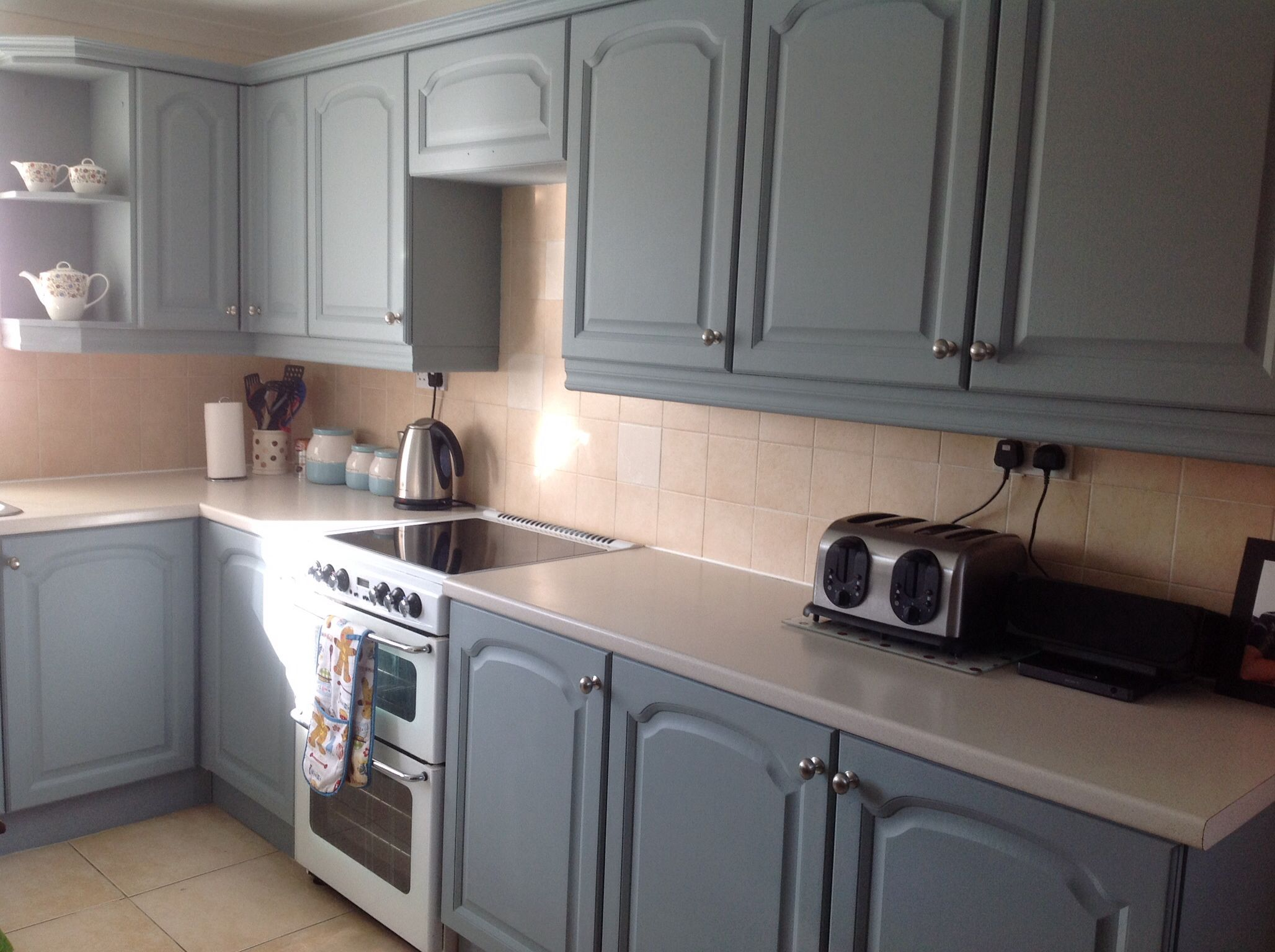 Paintedkitchen Cupboards With Autentico Paint In Scandinavian Blue