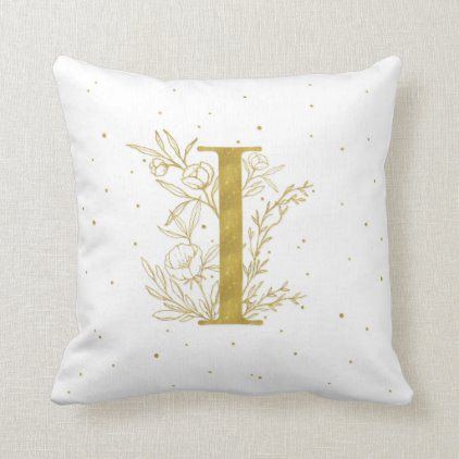 Letter I Gold Monogram Botanical Illustration Throw Pillow