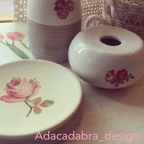 #tocador #shabychic #servilletas #flowers #rose #room #diy #design #diseño #decoupage #ceramica #reciclaje #craft #handmade #habitacion #ornaments