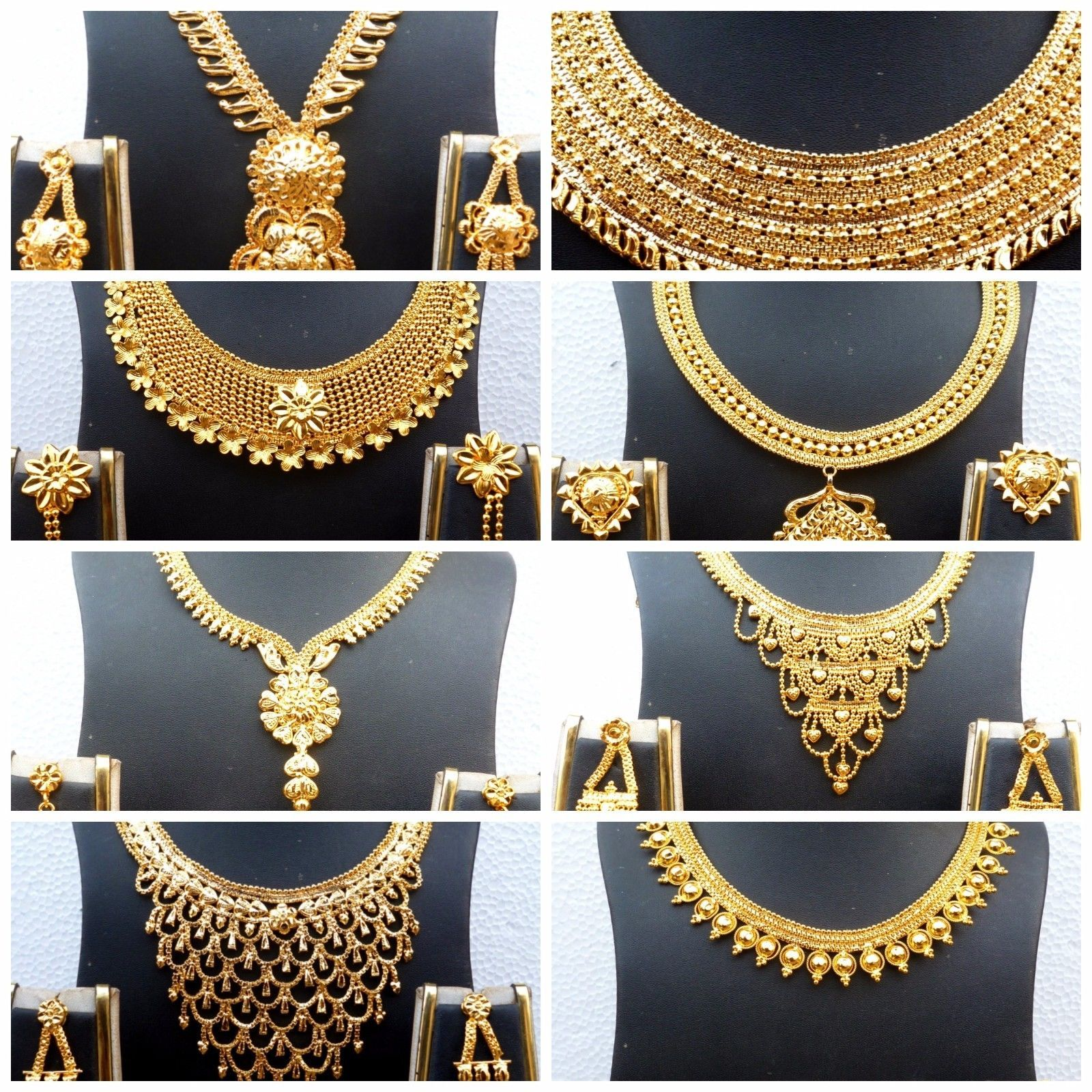 Indian 22k Gold Plated Wedding Necklace Earrings Jewelry: Indian 22K Gold Plated Party Necklace Earrings Set