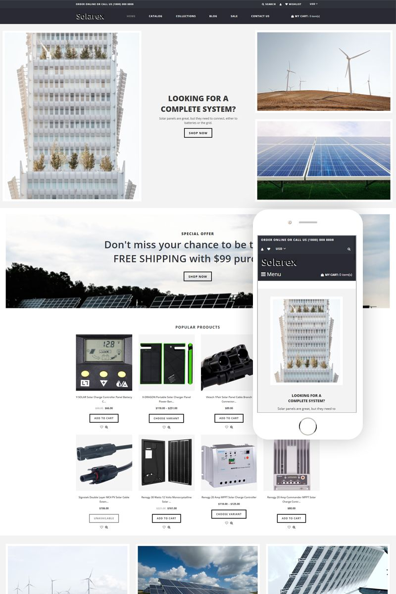 Solarex Solar Energy Multipage Clean Shopify Theme