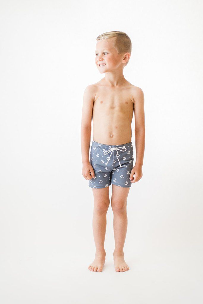 d2061174f8d01 Boy's Venice Swim Shorts Anchors | An Olivia + Ocean signature style, the  Venice boy shorts in the cutest anchor print. This suit is designed to  provide ...