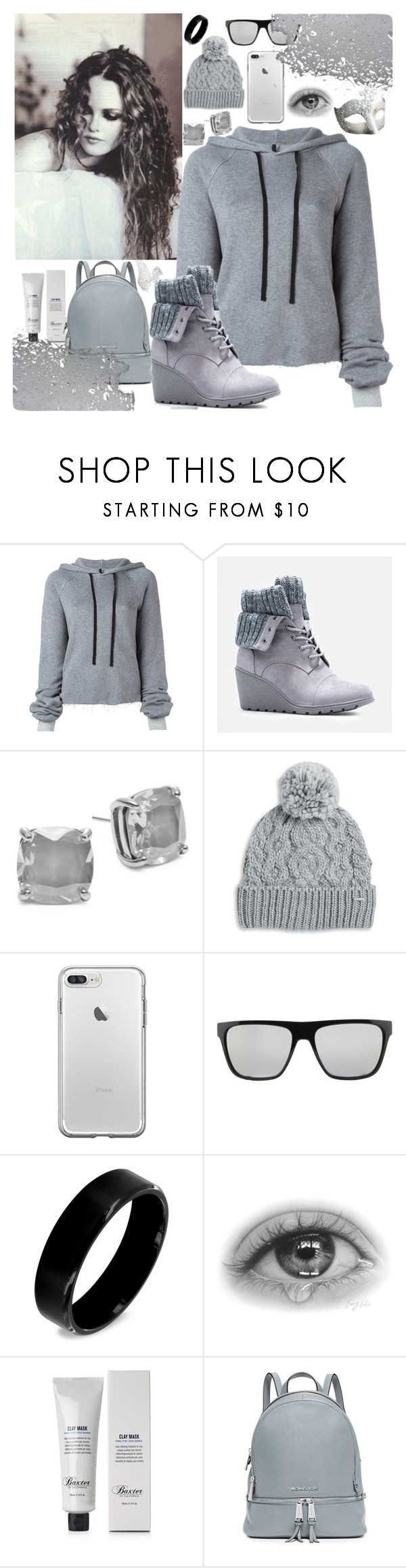 """""""grey"""" by amila-lugavic ❤ liked on Polyvore featuring Unravel, JustFab, Kate Spade, Rella, Puma, West Coast Jewelry, Baxter of California, MICHAEL Michael Kors and Messika"""