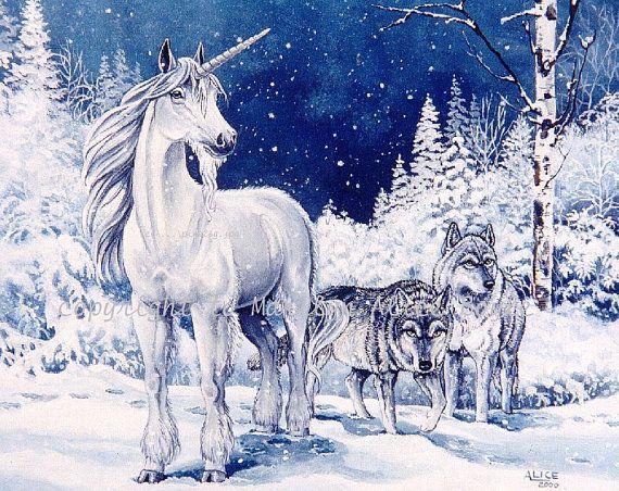 Ltd Ed Print Of Unicorn And Wolves Winter Pair Of Wolves Etsy Unicorn Pictures Unicorn And Fairies Unicorn Art
